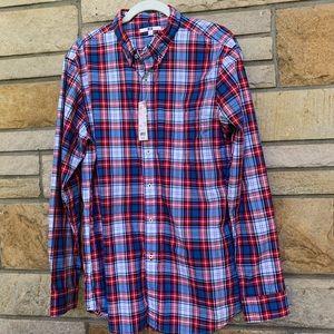 NWT Uniqlo broadcloth plaid long sleeve shirt
